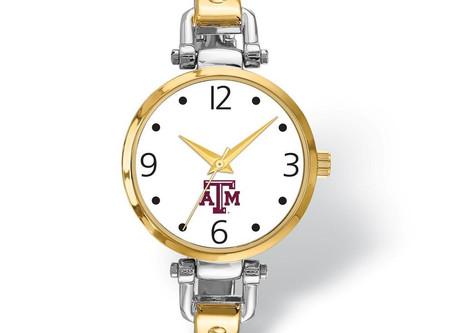 LogoArt Ladies Texas A&M University Elegant 2-tone Watch