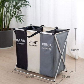3 Grids Fold-able Letter Print Laundry Basket