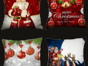 4PCS Father Christmas Bell Ball Printed Pillow Cover