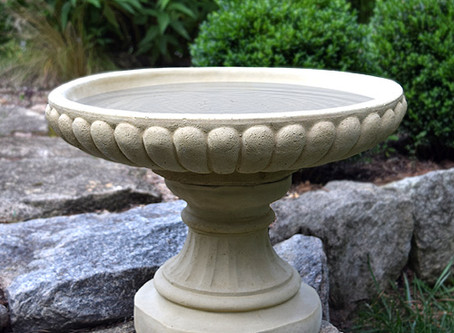 Short English-Style Concrete Birdbath - Handcrafted in the USA
