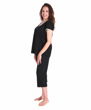 Moisture Wicking Pleated T-shirt Capri Set