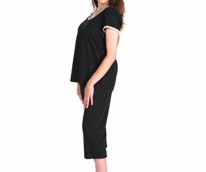 Moisture Wicking Pleated T-shirt Capri Set