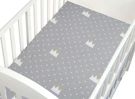 Newborn Crib Fitted Sheet Cotton Cartoon Baby Bed Mattress Cover (Crown)