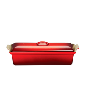 Le Creuset Heritage Stoneware Covered Rectangular Dish Cherry, 12-by-9-in