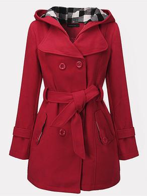 Women Hooded Coat Jacket Long Sleeve Warm Winter Pocket Outwear