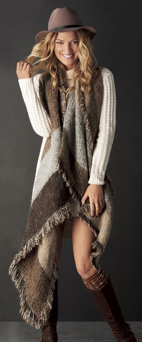 Frayed Blanket Scarf