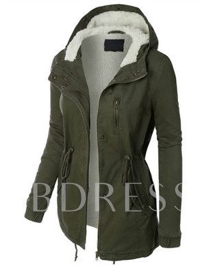 Hidden Button Zipper Pocket Hooded Plush Women's Jacket