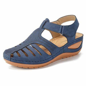LOSTISY Hollow Out Lightweight Pure Color Breathable Hook Loop Wedges Sandals