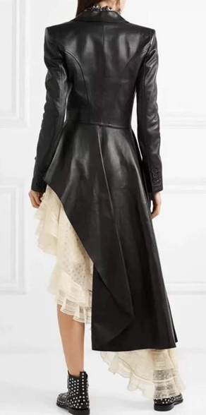 Jessica Bara Anniston Double Breasted Leather Long Coat