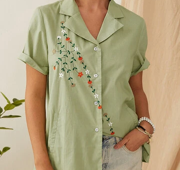 Floral Embroidery Button Lapel Shirt For Women