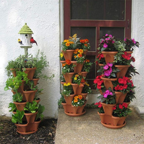 Stackable Planter Pots Garden Outdoor Strawberry Herb Flower Vegetable Vertical Gardening 3 Grids
