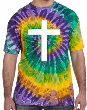 Christian Cross Tie Dye Tee Shirt