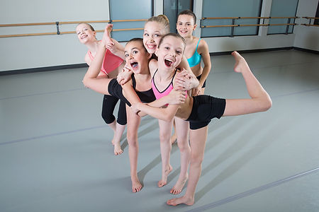 Group of girls having fun in dance class
