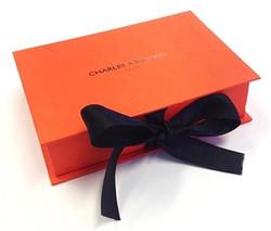 Orange Rigid boxes with Ribbon bow