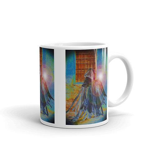 The Rainbow Light Bearer White glossy mug