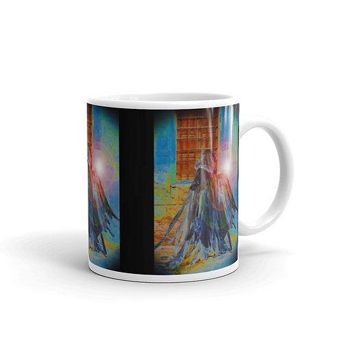The Rainbow Light Bearer White glossy mug