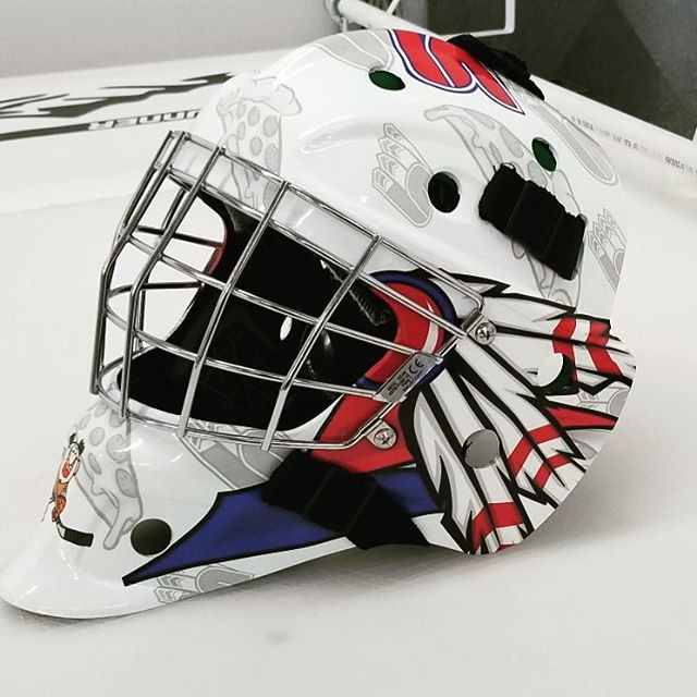 Custom Designed and Installed Goalie Mask Wrap