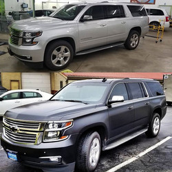 Before and After of satin black suburban