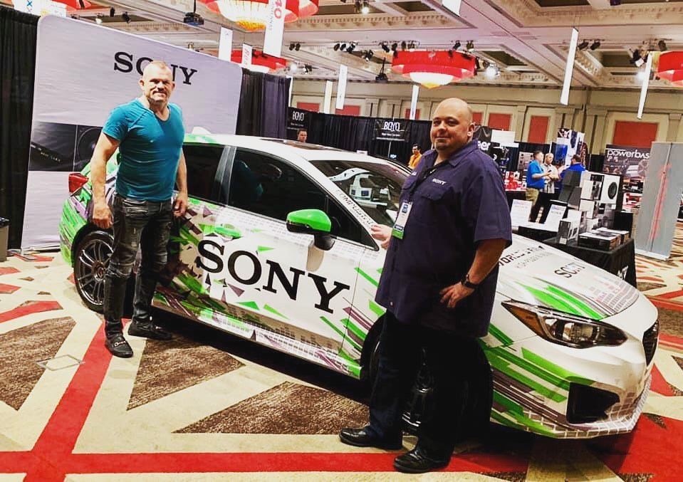 Chuck Liddell with our Sony wrap at SEMA
