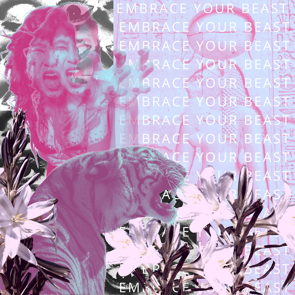 collage lavender pastel purple drag burlesque tiger embrace your beast daily magic blog