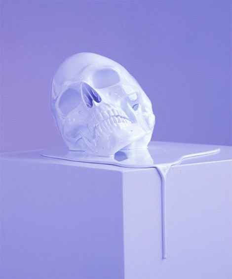 purple and lavender melting skull daily magic ego death