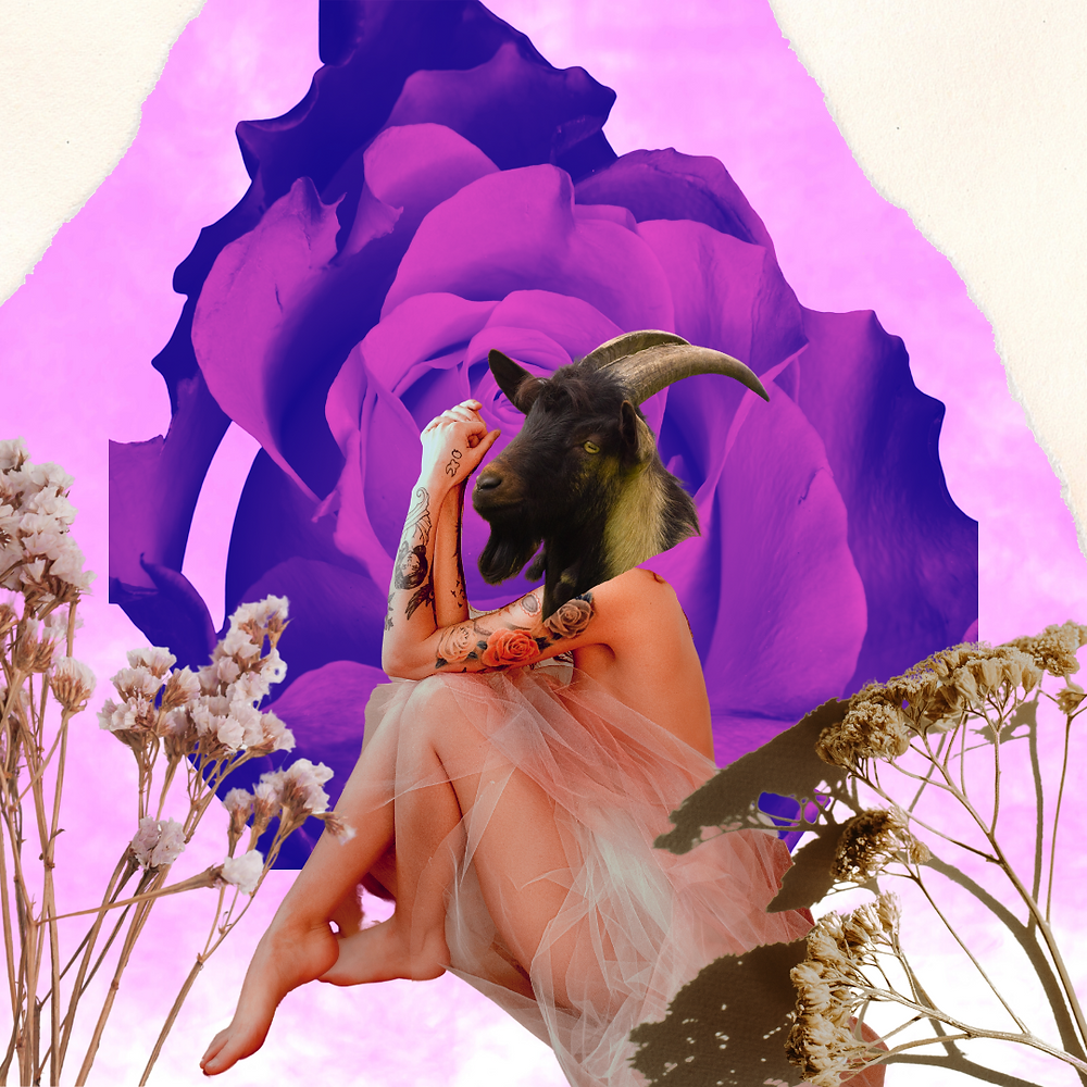 collage by tj banate Tasha Jade Banate Capricorn goddess nude model with dried flowers