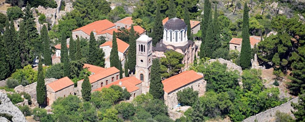 Blick auf das Kloster Nea Moni