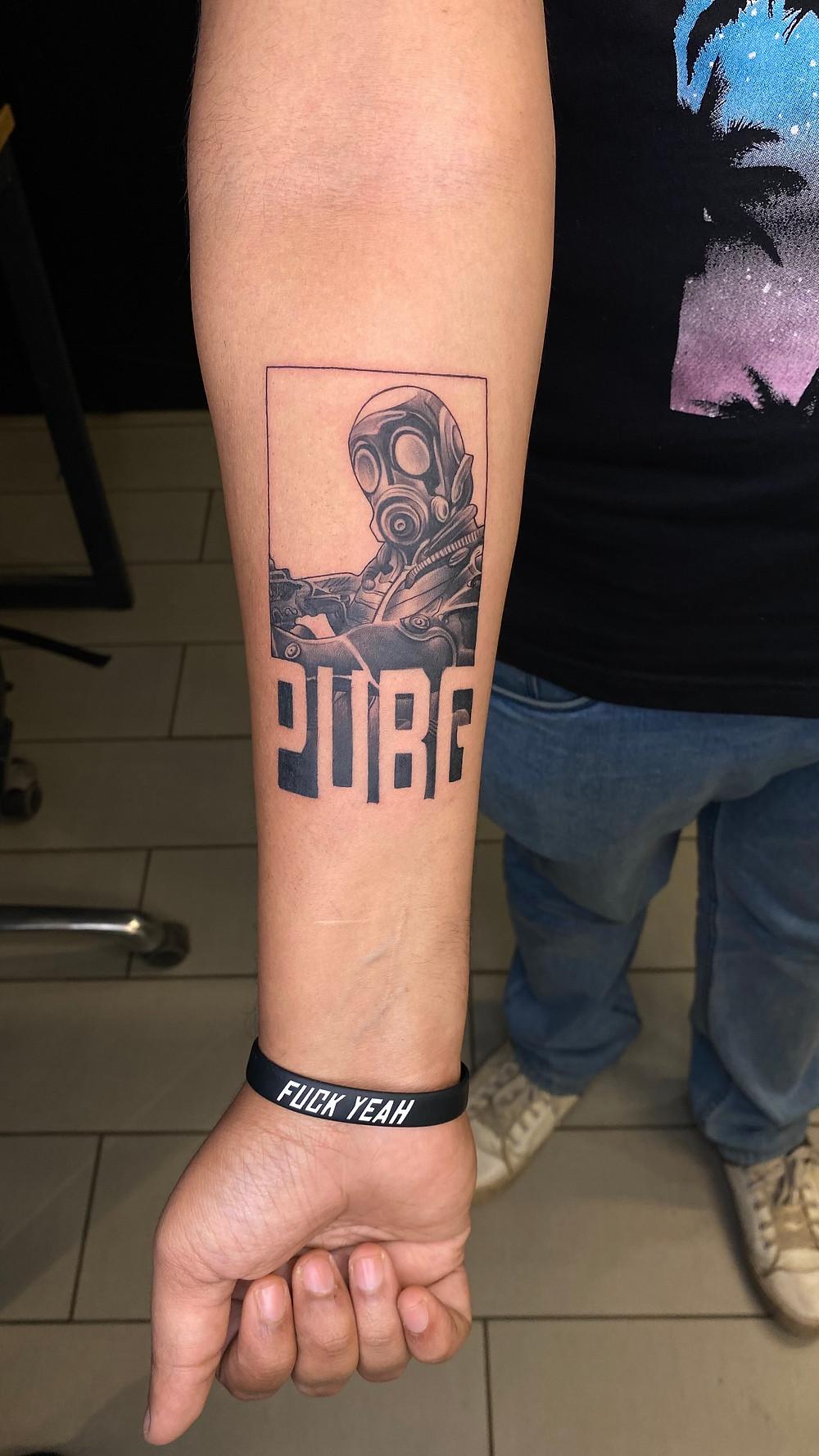 Tattoo Games : PUBG Tattoo on Arm