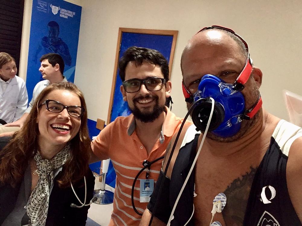 Cris Prado, Gabriel Espinosa e eu antes do início do teste / Márcio de Miranda - Planeta da Bike