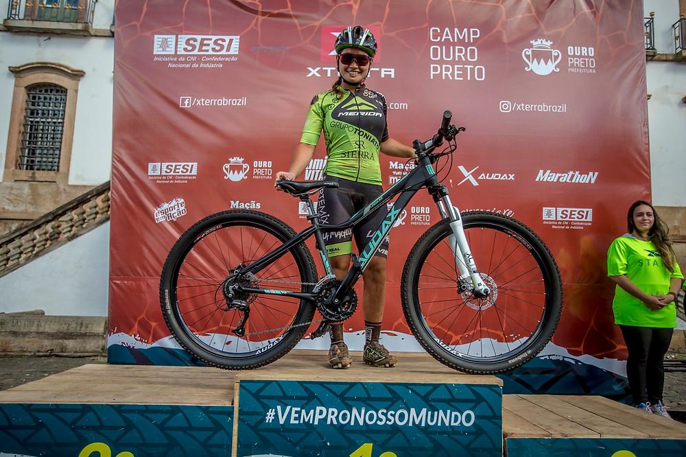 Sofia Subtil venceu a prova de MTB Cup Pro e ainda ganhou uma bike do concurso realizado pela Audax / Divulgação