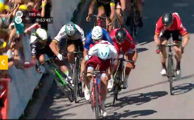 Sagan é banido do Tour de France após se envolver em acidente com Cavendish