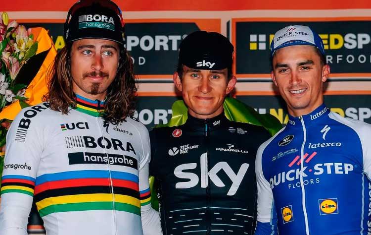Sagan, Kia e  Alaphilippe no pódio / Divulgação Team Sky