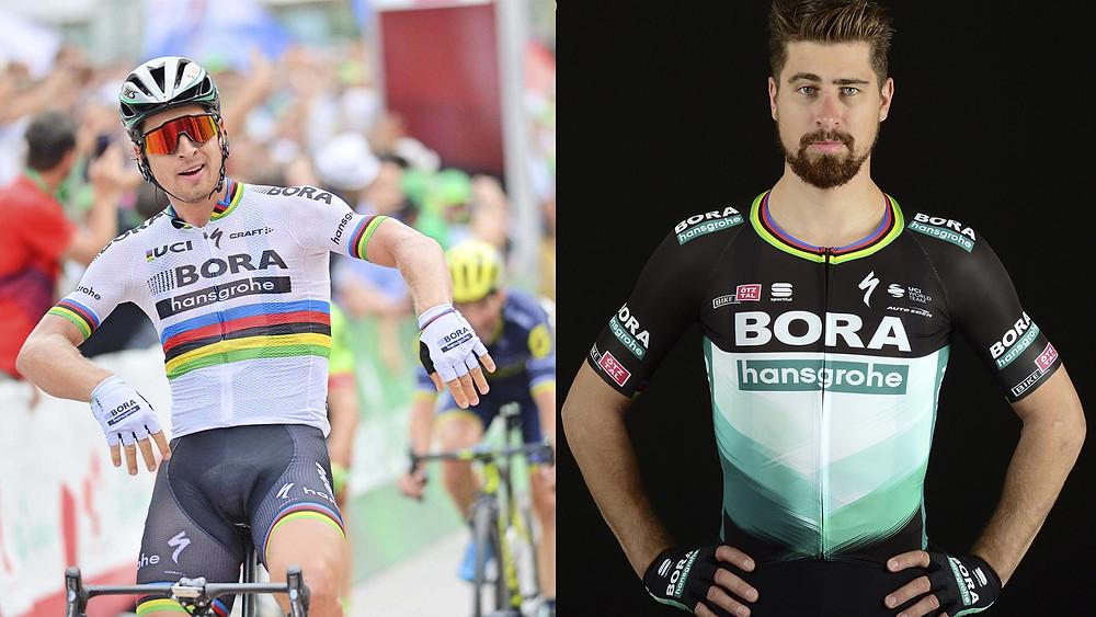 Sagan com a camisa de arco-íris e com camisa da temporada 2020 com detalhe na gola / Fotomontagem Planeta da Bike