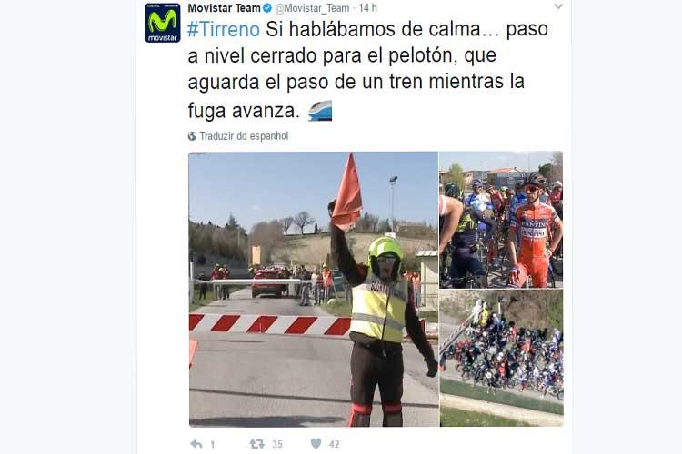 Pelotão parado causa do trem / Reprodução Twitter Movistar Team