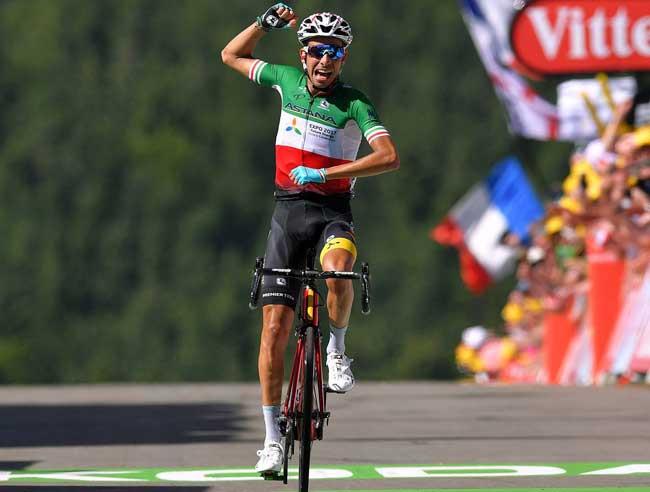 Fabio Aru comemorando a vitória / @Bettiniphoto - Astana