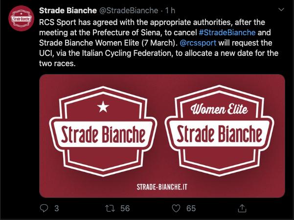 Reprodução Twitter oficial da Strade Bianche