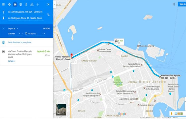 Percurso da futura APCC / Google