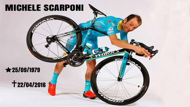 Scarponi e sua bike / Divulgação Astana