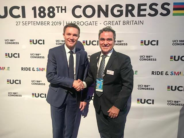 David Lappartient e José Vasconcellos no último congresso da UCI / Divulgação