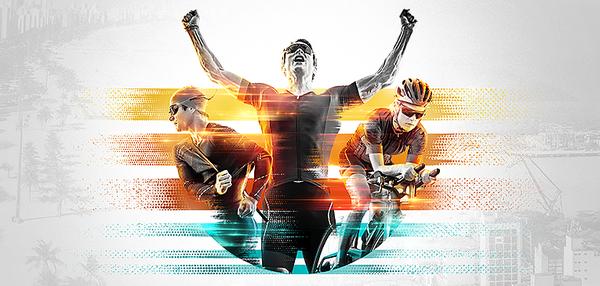 Nadar, pedalar e correr - prova com distâncias olímpicas