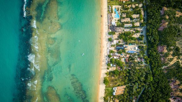 Vista aérea da arena em Arraial d'Ajuda (Fabio Piva / Brasil Ride)