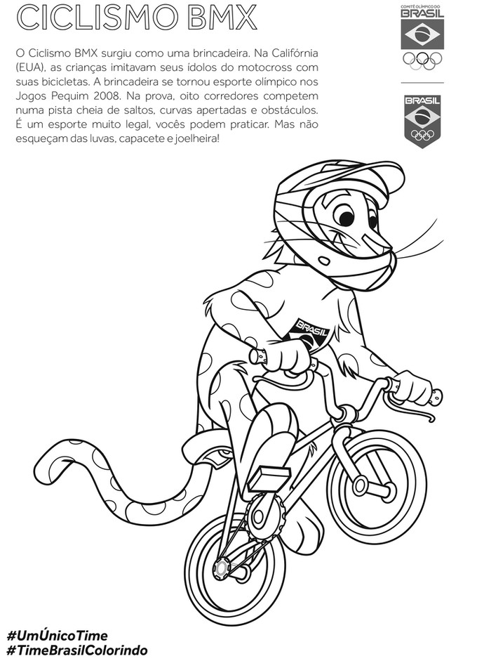 COB disponibiliza livro gratuito para colorir, com mascote do Time Brasil praticando todas as modali