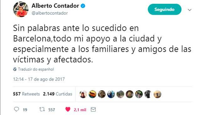 Alberto Contador manda recado para as vítimas do atentado em Barcelona