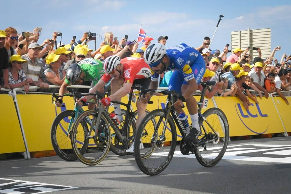 Gaviria, Greipel e Sagan na chegada da quarta etapa / ASO Bruno Bade.jpeg