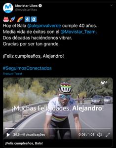 Equipe Movistar homenageia o Bala Verde / Reprodução Twitter