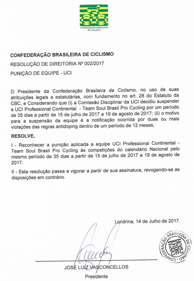 CBC segue UCI e suspende equipe brasileira por 35 dias