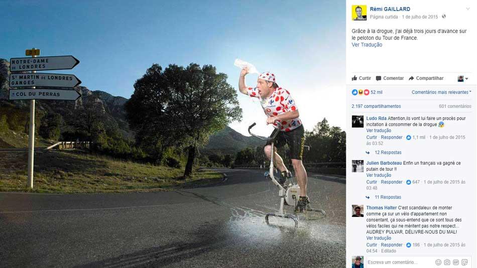 Rémi fazendo uma crítica ao doping / Reprodução Facebook