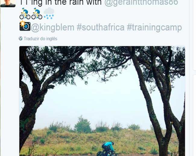 Nem chuva para o tricampeão do Tour de France