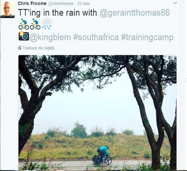Froome e Geraint Thomas treinando na África do Sul / Reprodução Instagram