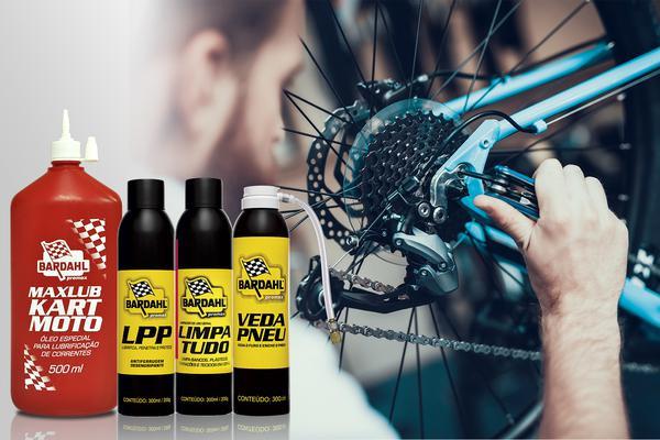 Produtos da Promax Bardahl para a manutenção da bike (Divulgação)